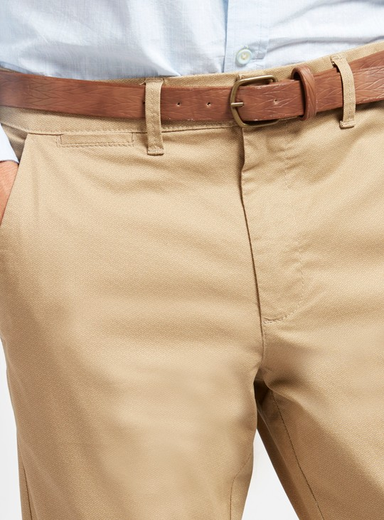 Slim Fit Solid Chinos with Pocket Detail and Belt Loops