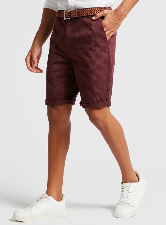 Printed Mid-Rise Chino Shorts with Slip Pockets