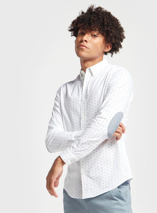 Printed Shirt with Long Sleeves and Elbow Patch