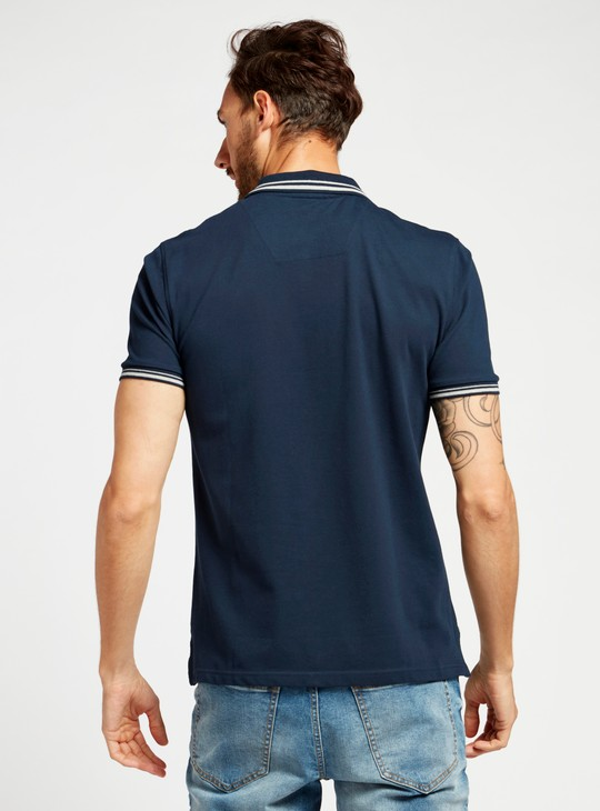 Cut and Sew Polo T-shirt with Short Sleeves and Zip Closure