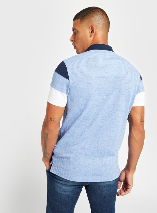 Textured Polo T-shirt with Short Sleeves and Zip Detail