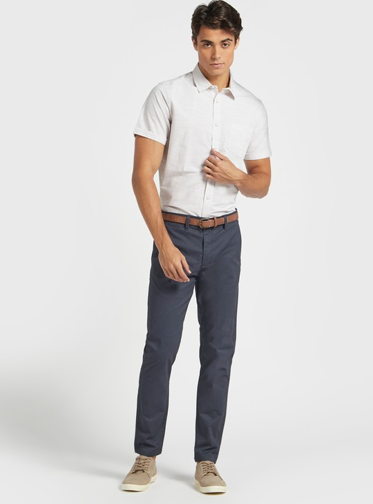 Textured Shirt with Short Sleeves and Spread Collar