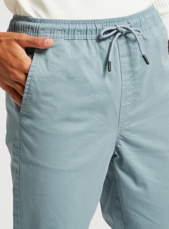 Solid Mid-Rise Jog Pants with Drawstring Closure and Pocket Detail
