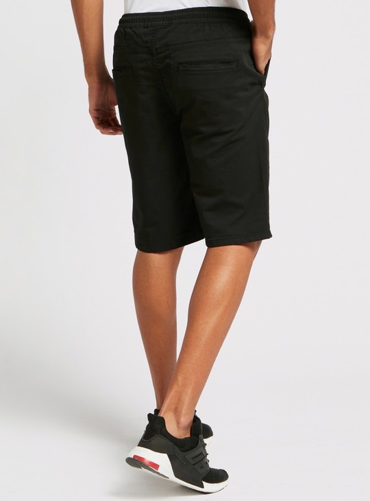 Solid Mid-Rise Shorts with Pockets and Drawstring Closure