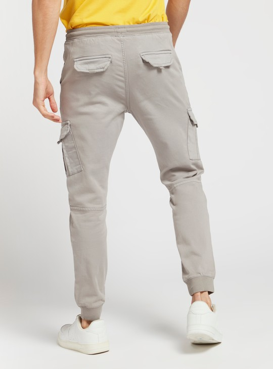 Solid Mid-Rise Jog Pants with Pocket Detail and Drawstring Closure