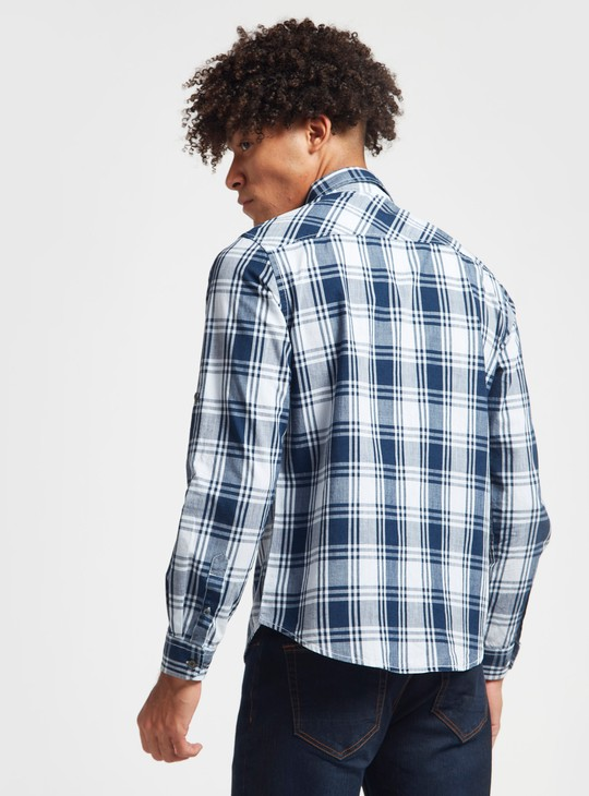 Checked Shirt with Long Sleeves and Pocket Detail