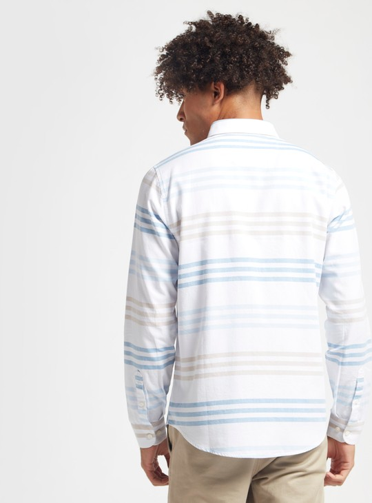 Striped Shirt with Spread Collar and Long Sleeves