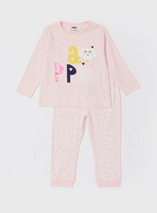 Set of 2 - Printed Round Neck T-shirt and Pyjama Set