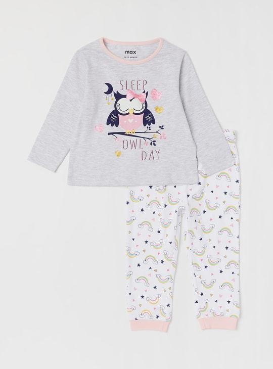 Set of 2 - Graphic Print T-shirt and Pyjama Set