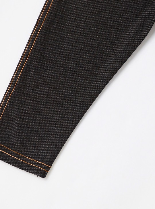 Skinny Fit Solid Jeggings with Stitch Detail