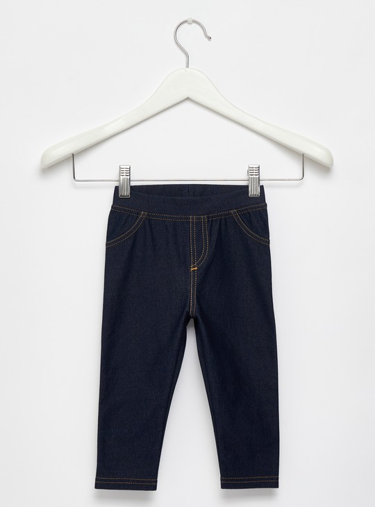 Full Length Solid Jeggings with Elasticated Waistband