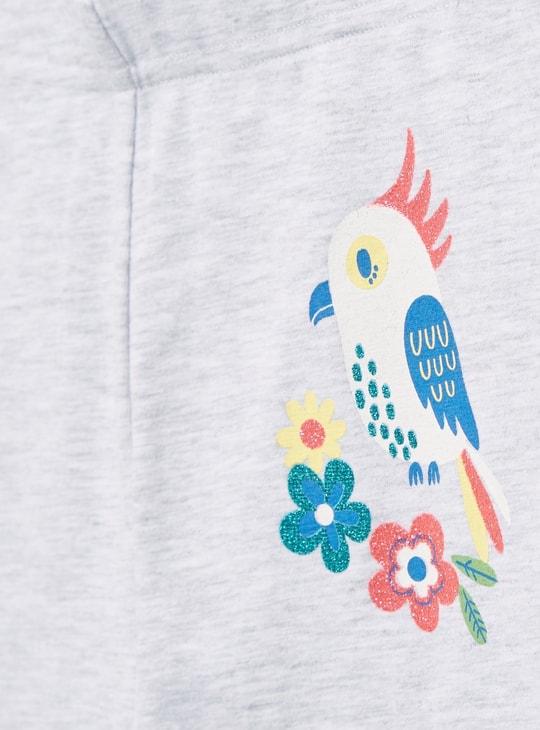 Bird Graphic Print Leggings with Elasticised Waistband