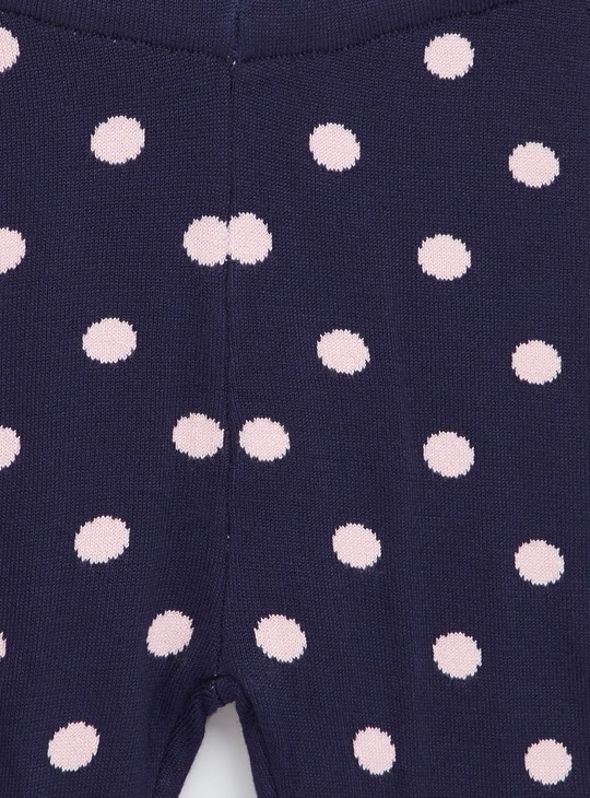 Comfort Fit Full Length Polka Dotted Sweater Leggings