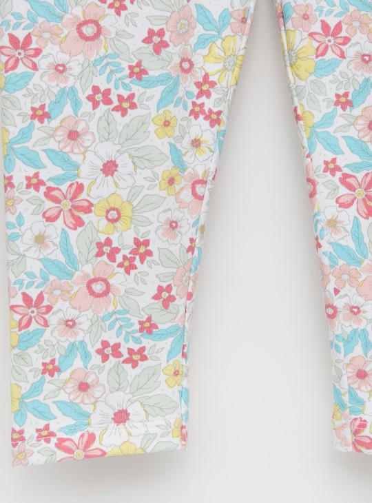 Floral Print Full-Length Leggings with Elasticated Waistband
