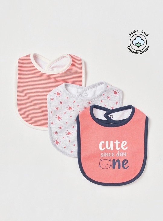 Set of 3 - Assorted Bib with Press Button Closure