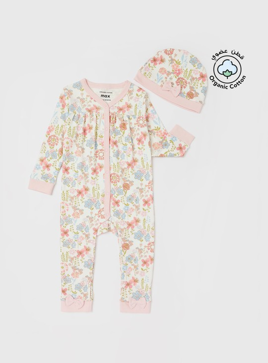 All-Over Floral Printed Sleepsuit with Cap