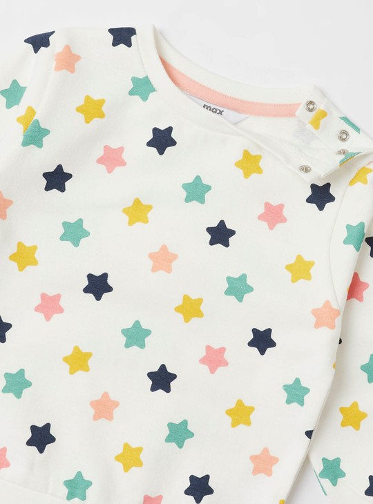 All-Over Star Print Sweatshirt with Round Neck and Long Sleeves