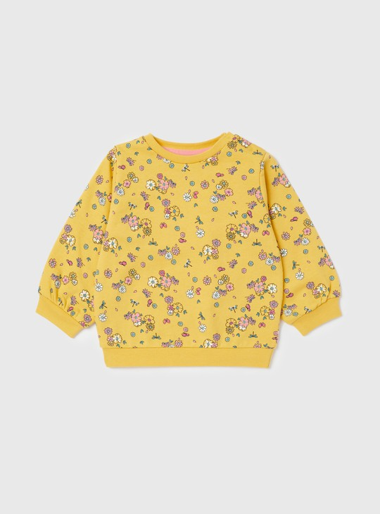 All-Over Floral Print Sweatshirt with Round Neck and Long Sleeves