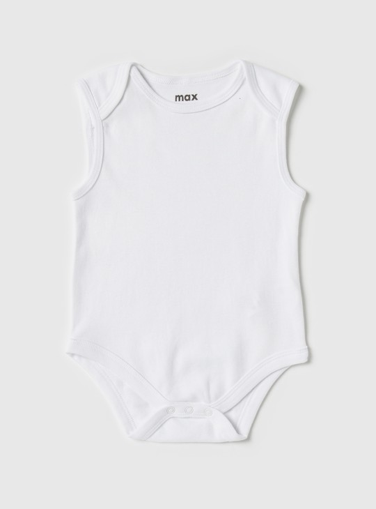 Set of 3 - Solid Sleeveless Bodysuit with Snap Closure