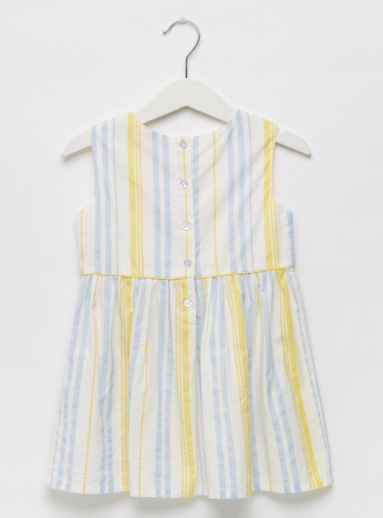 Striped Round Neck Sleeveless Dress with Button Closure