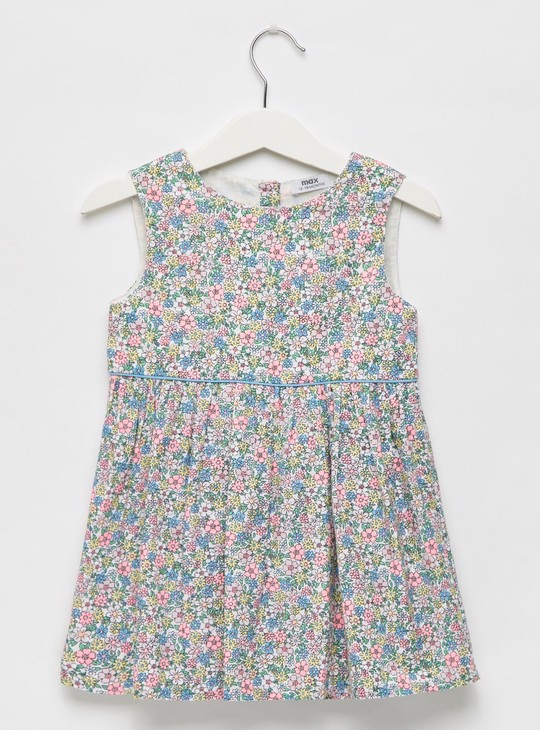 All-Over Floral Print Sleeveless Dress