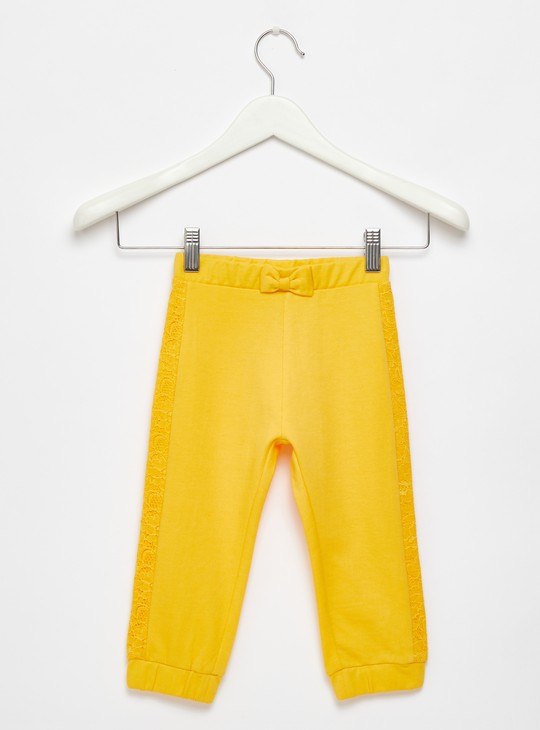 Full Length textured Jog Pants with Elasticated Waistband and Side Lace Panels