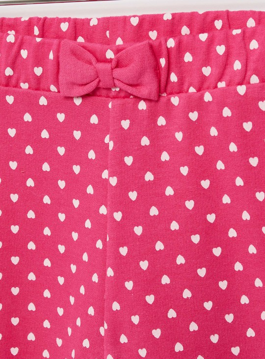 All-Over Hearts Print Joggers with Elasticated Waistband and Bow