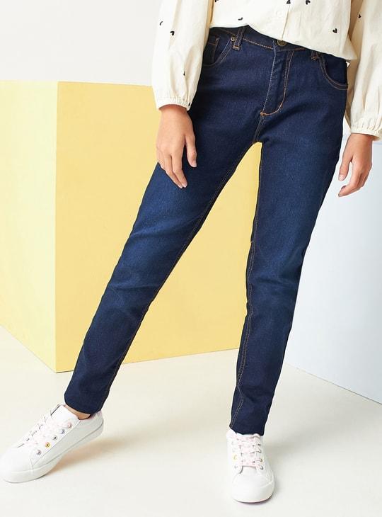 بنطال جينز سادة بتفاصيل جيوب وحزام بحلقات