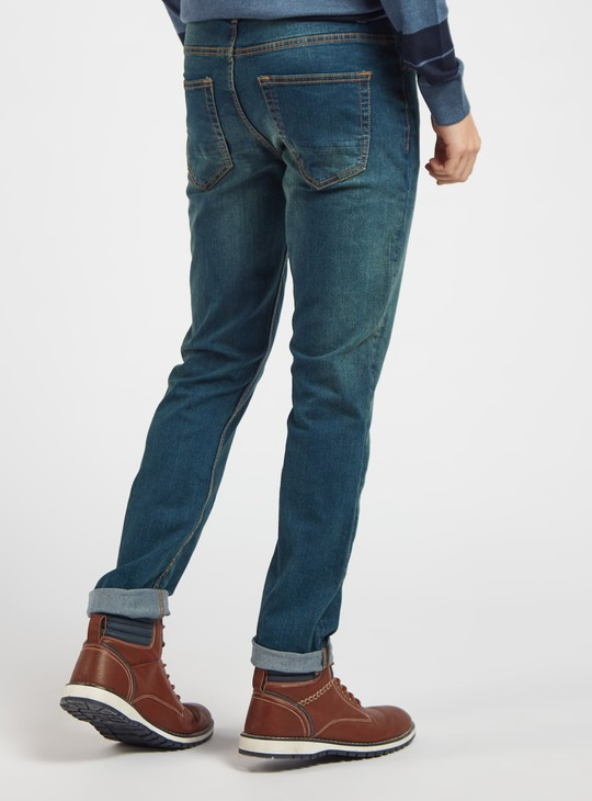 Slim Fit Full Length Solid Jeans with Pockets and Belt Loops
