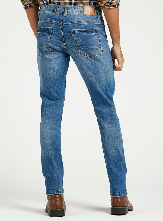 Skinny Fit Distressed Mid-Rise Jeans with Pocket Detail and Belt Loops