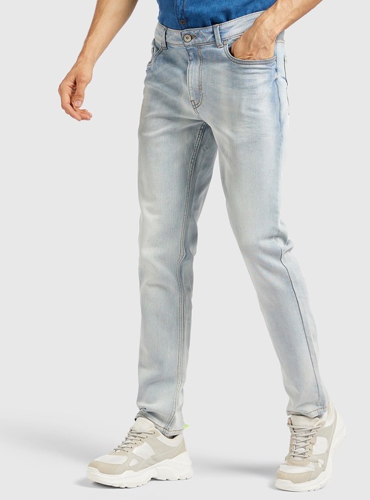 Skinny Fit Solid Jeans with Pockets and Belt Loops