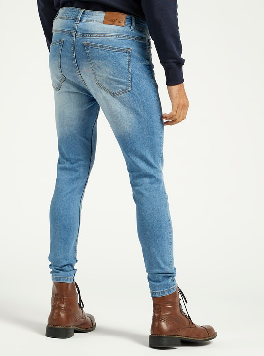 Carrot Fit Full Length Jeans with 5-Pockets