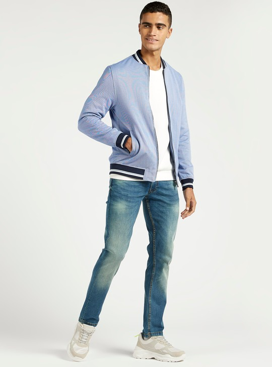 Slim Fit Textured Mid-Rise Jeans with Pockets and Belt Loops