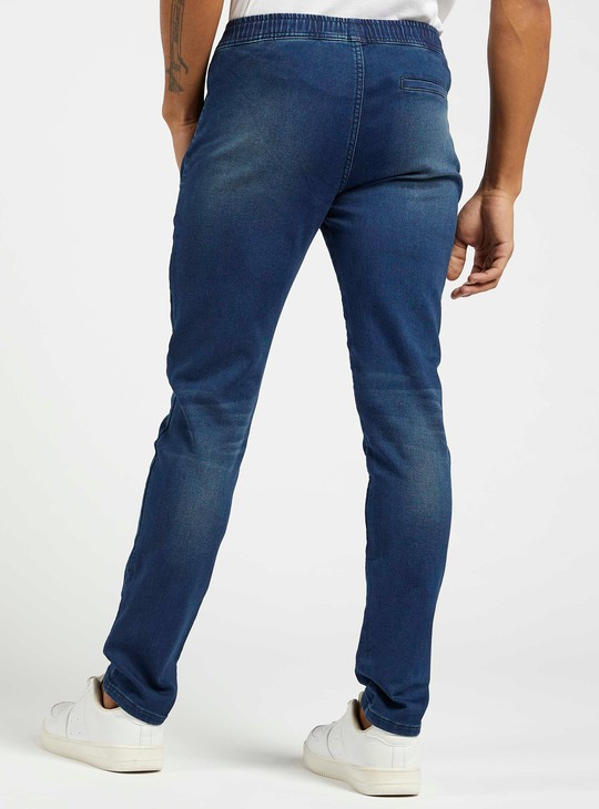 Skinny Fit Jeans with Pockets and Drawstring