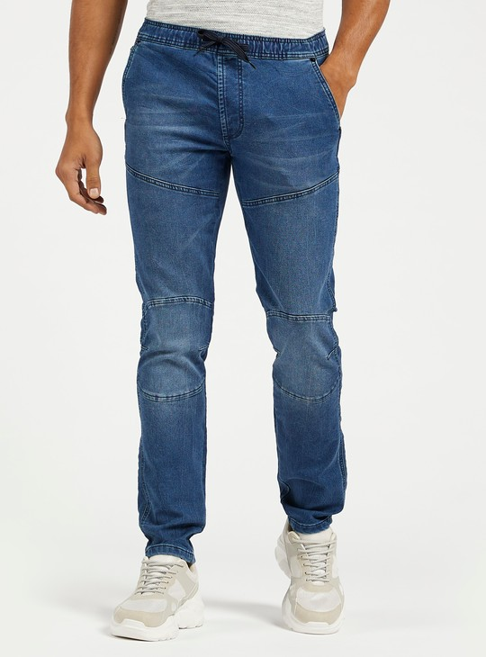 Slim Fit Denim Joggers with Pockets and Drawstring