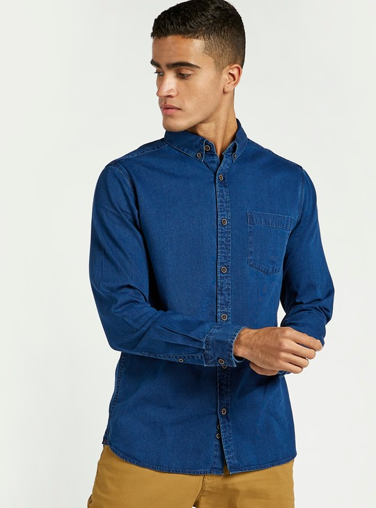 Solid Denim Shirt with Spread Collar and Long Sleeves