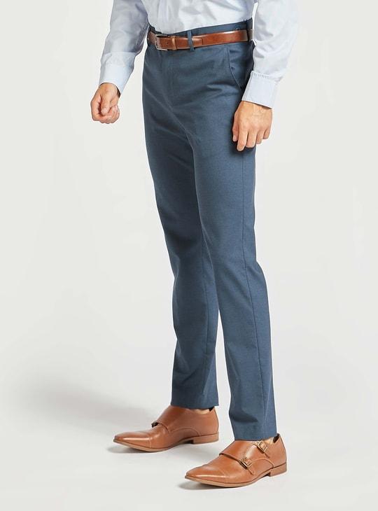 Solid Slim Fit Full-Length Formal Pants