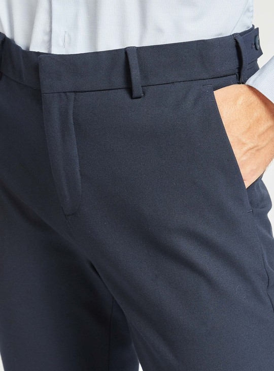 Slim Fit Solid Formal Pants with Pocket Detail and Belt Loops