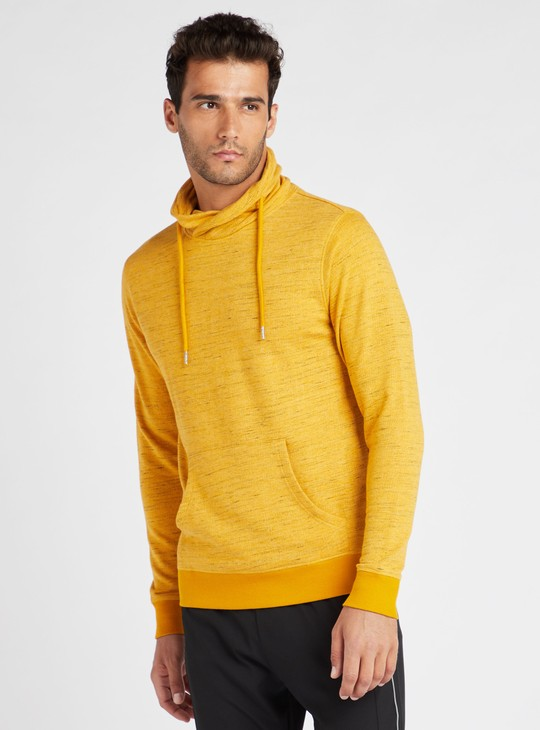 High Neck Sweatshirt with Long Sleeves and Pockets