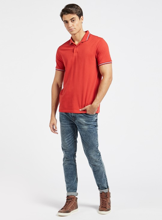 Solid Polo T-shirt with Tipping Detail and Short Sleeves