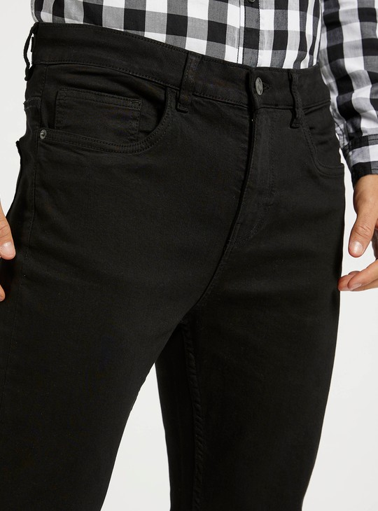 Slim Fit Solid Jeans with Pocket Detail and Belt Loops