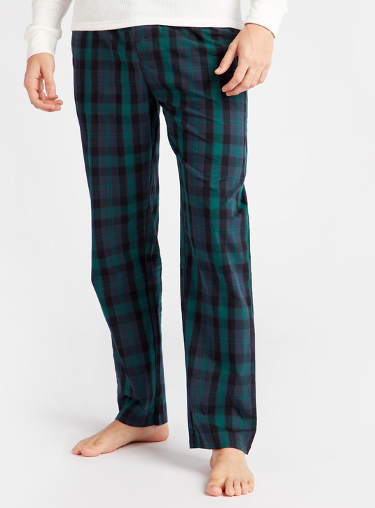 Chequered Full Length Pyjamas with Pockets and Drawstring