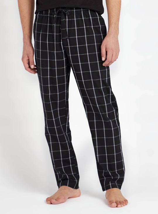 Checked Full Length Pyjamas with Drawstring Tie Up and Pockets