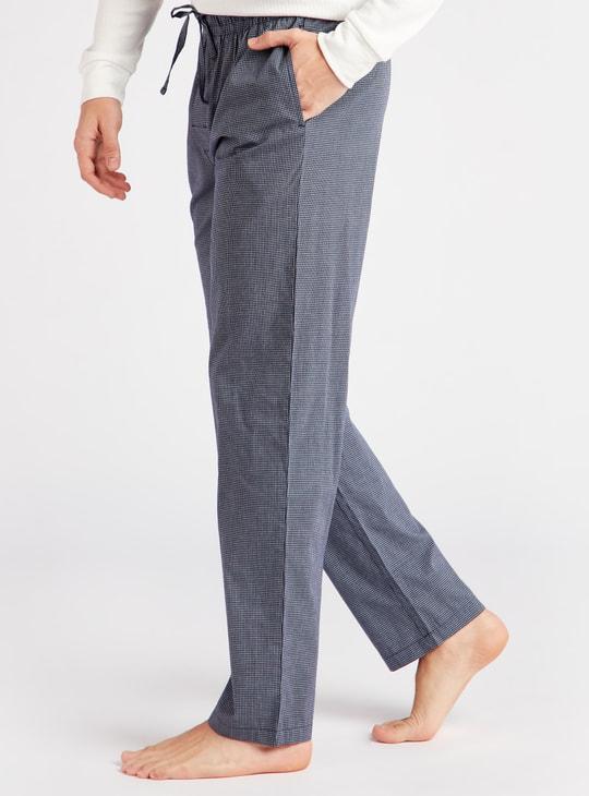 Checked Cotton Pyjamas with Drawstring Closure