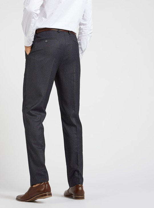 Slim Fit Checked Formal Pants with Pockets and Belt Loops