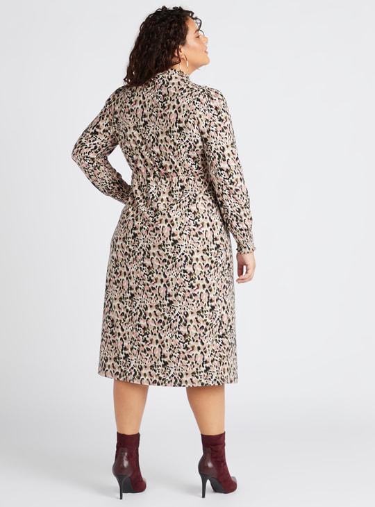 Animal Print High Neck A-line Midi Dress with Long Sleeves