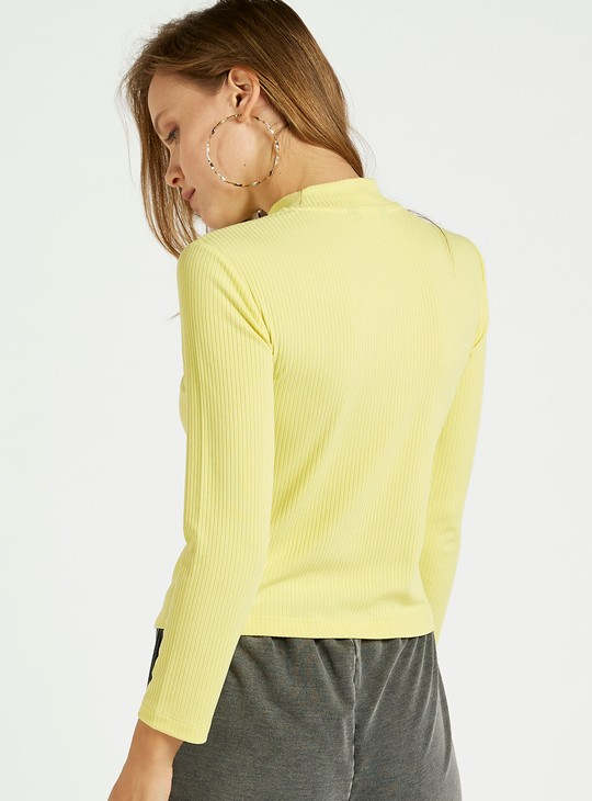 Ribbed Top with High Neck and 3/4 Sleeves