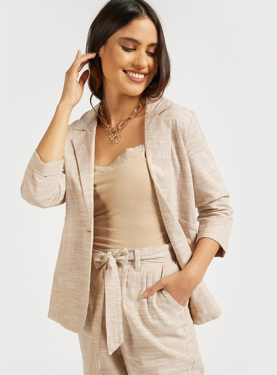 Striped Blazer with 3/4 Sleeves and Pockets