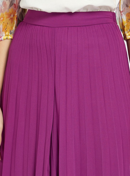 Solid Perma Pleated Culottes with Elasticised Waistband