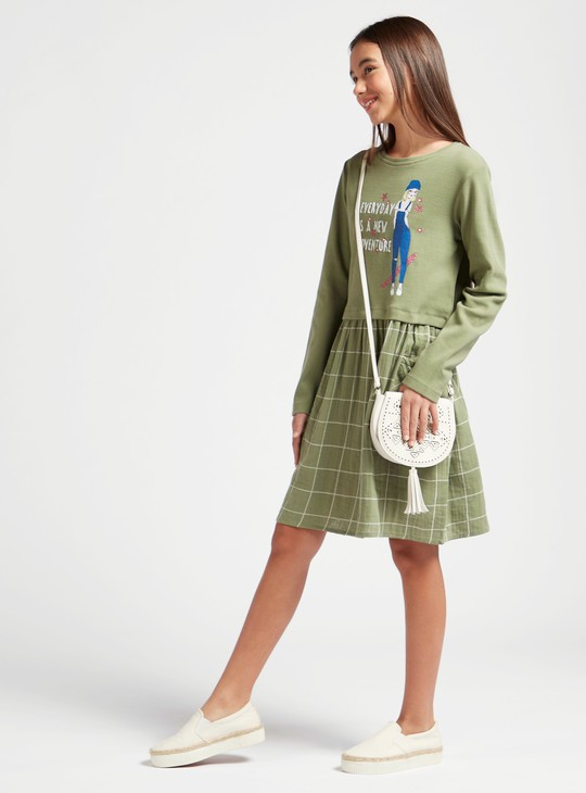 Graphic Print Dress with Pocket Detail and Long Sleeves